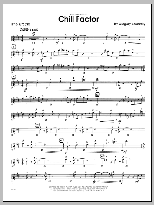 Chill Factor - Alto Sax 1 Sheet Music