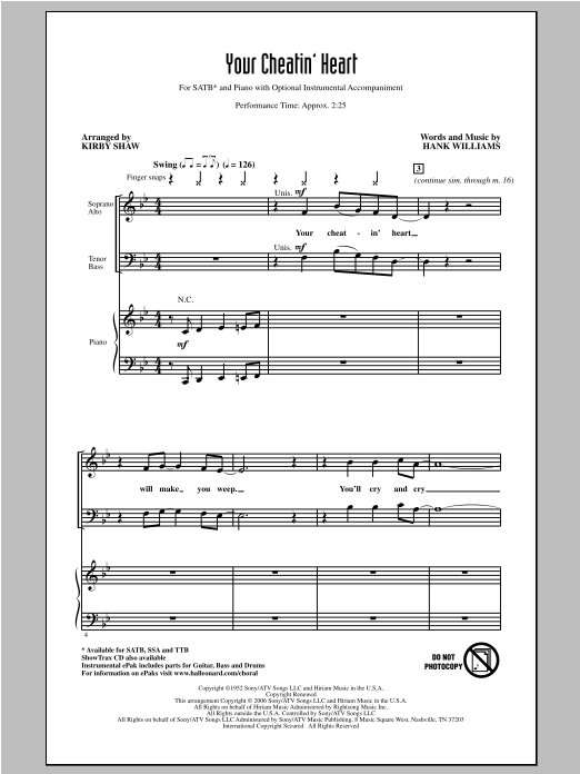 Partition chorale Your Cheatin' Heart de Hank Williams - SATB
