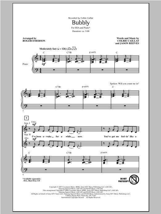 Bubbly (arr. Roger Emerson) Sheet Music