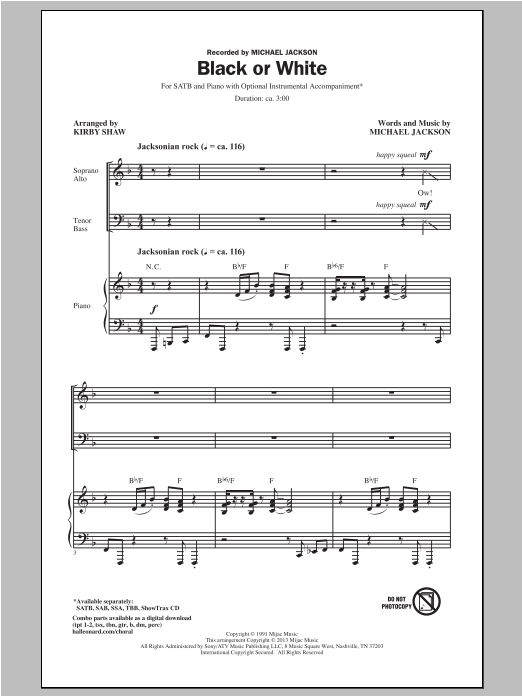 Black Or White Sheet Music