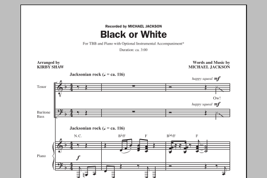 Partition chorale Black Or White de Michael Jackson - TBB