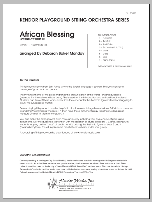 African Blessing (Bwana Awabariki) (COMPLETE) sheet music for orchestra by Monday and Deborah Baker Monday. Score Image Preview.