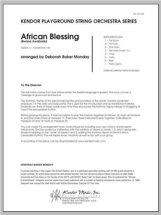 African Blessing (Bwana Awabariki) - Full Score Sheet Music