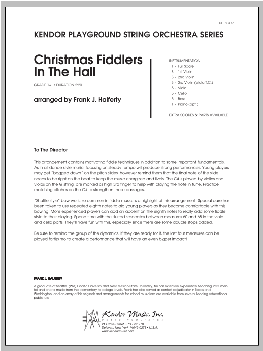 Christmas Fiddlers In The Hall (COMPLETE) sheet music for orchestra by Halferty. Score Image Preview.