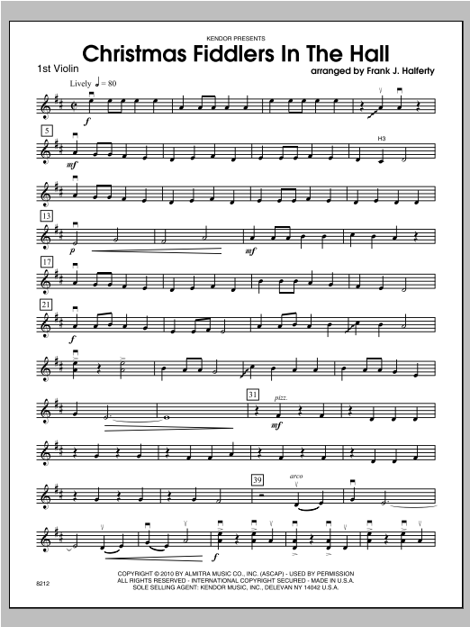 Christmas Fiddlers In The Hall - Violin 1 Sheet Music