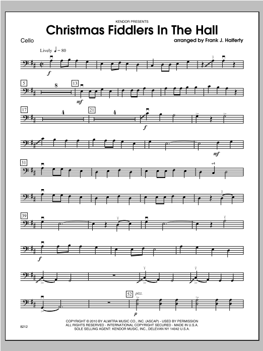 Christmas Fiddlers In The Hall - Cello Sheet Music