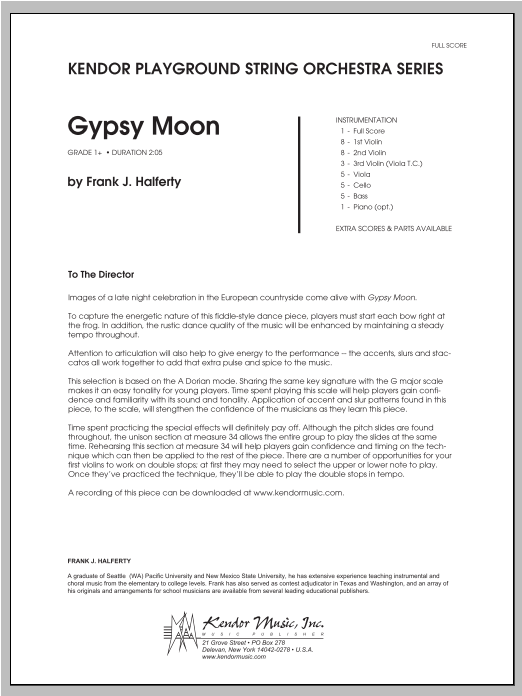 Gypsy Moon (COMPLETE) sheet music for orchestra by Halferty. Score Image Preview.