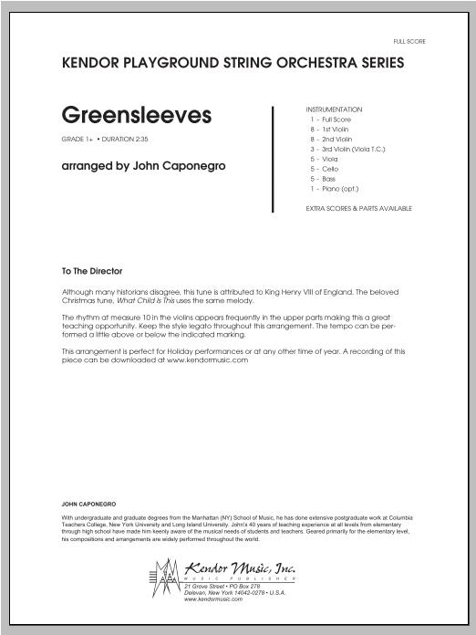 Greensleeves - Full Score Sheet Music