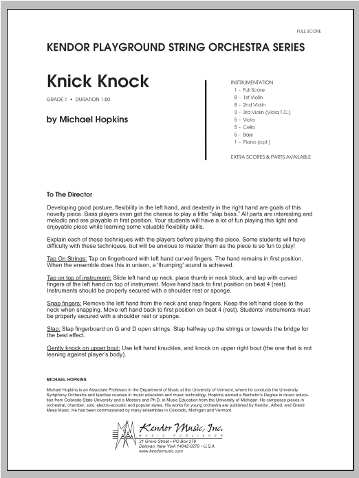 Knick Knock (COMPLETE) sheet music for orchestra by Hopkins. Score Image Preview.