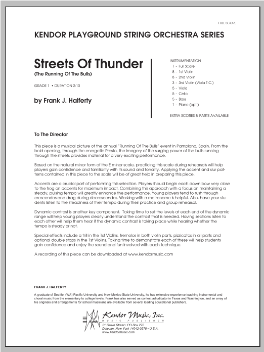 Streets Of Thunder (The Running Of The Bulls) (COMPLETE) sheet music for orchestra by Halferty. Score Image Preview.