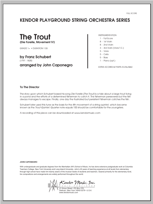 Trout, The (Die Forelle, Movement IV) (COMPLETE) sheet music for orchestra by Caponegro and Franz Schubert. Score Image Preview.