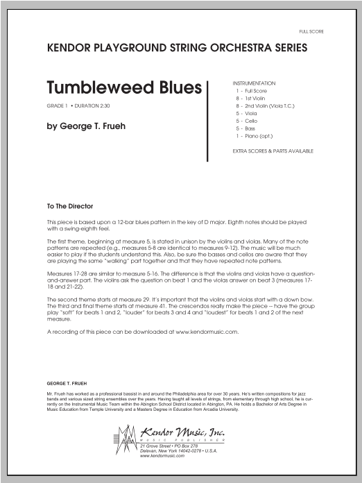 Tumbleweed Blues (COMPLETE) sheet music for orchestra by Frueh. Score Image Preview.