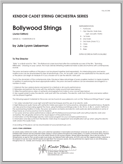 Bollywood Strings (Junior Edition) (COMPLETE) sheet music for orchestra by Julie Lyonn Lieberman. Score Image Preview.