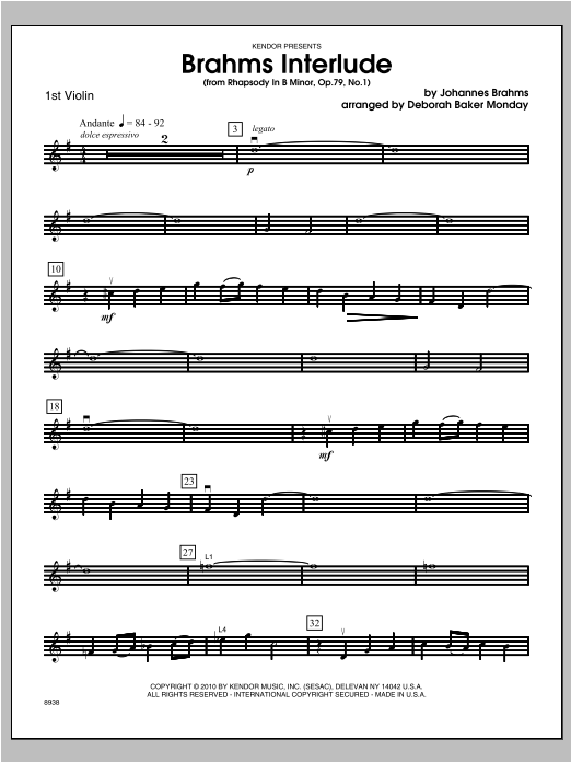 Brahms Interlude (from Rhapsody In B Minor, Op. 79, No. 1) - Violin 1 Sheet Music