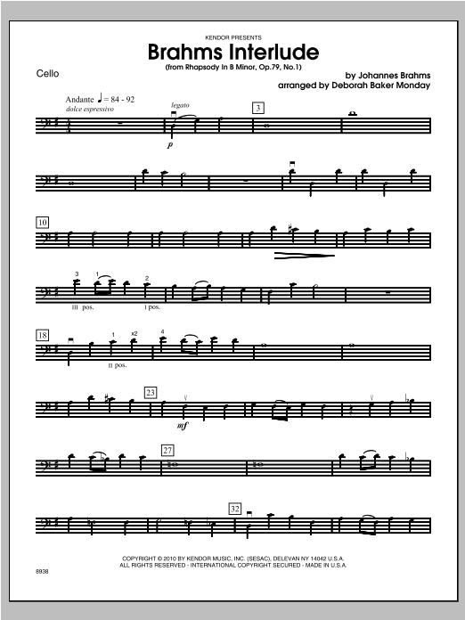 Brahms Interlude (from Rhapsody In B Minor, Op. 79, No. 1) - Cello Sheet Music