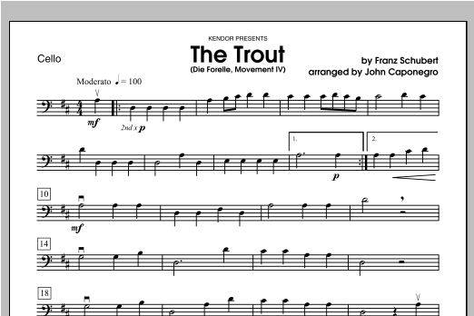Trout, The (Die Forelle, Movement IV) - Cello Sheet Music