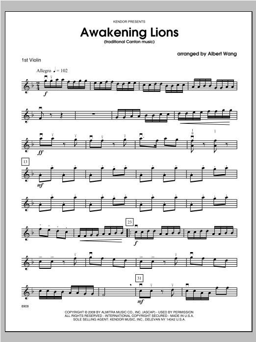 Awakening Lions (traditional Canton music) - Violin 1 Sheet Music