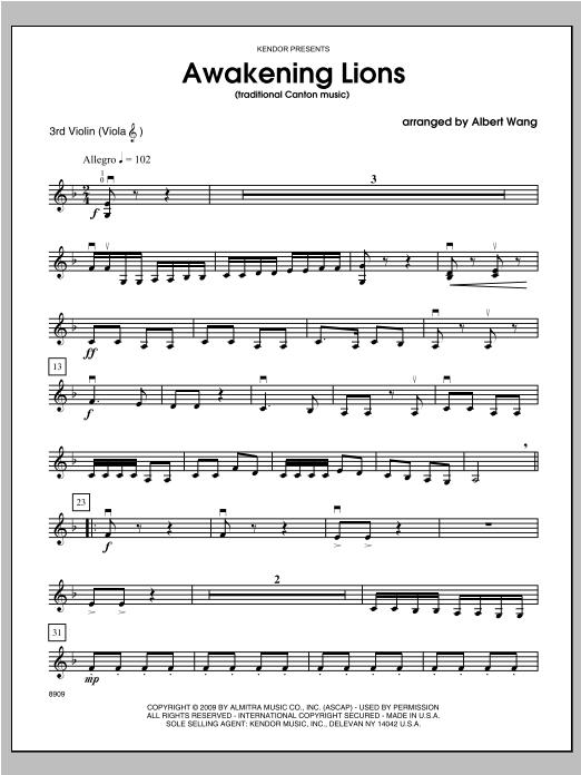Awakening Lions (traditional Canton music) - Violin 3 Sheet Music