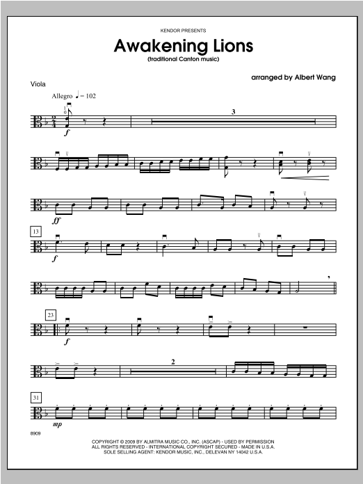 Awakening Lions (traditional Canton music) - Viola Partition Digitale