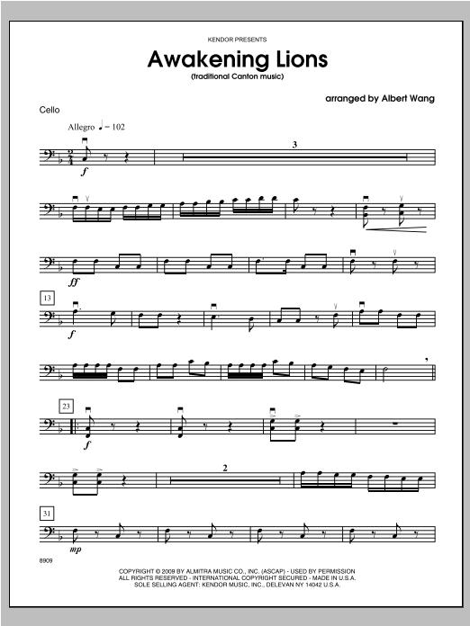 Awakening Lions (traditional Canton music) - Cello Sheet Music