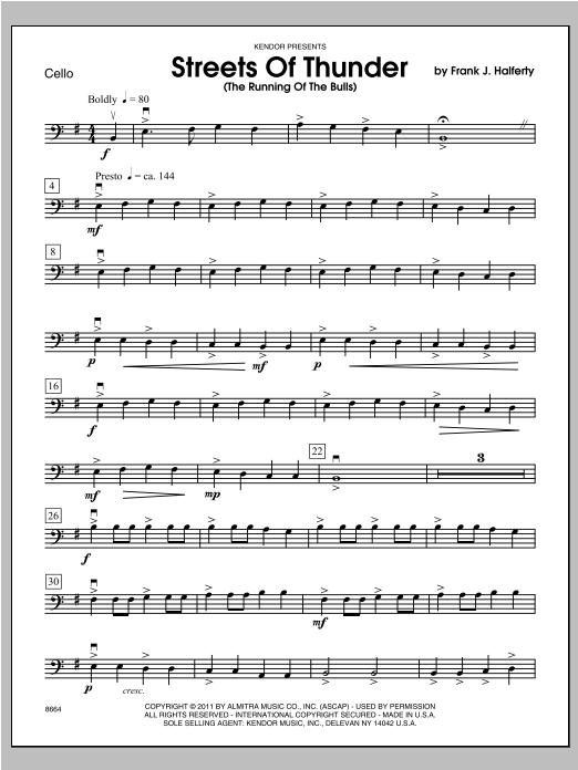 Streets Of Thunder (The Running Of The Bulls) - Cello Sheet Music