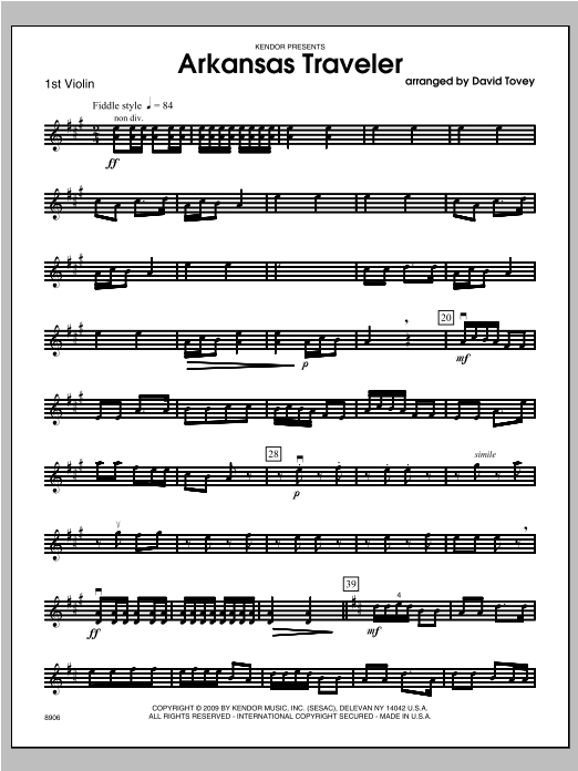 Arkansas Traveler - Violin 1 Sheet Music