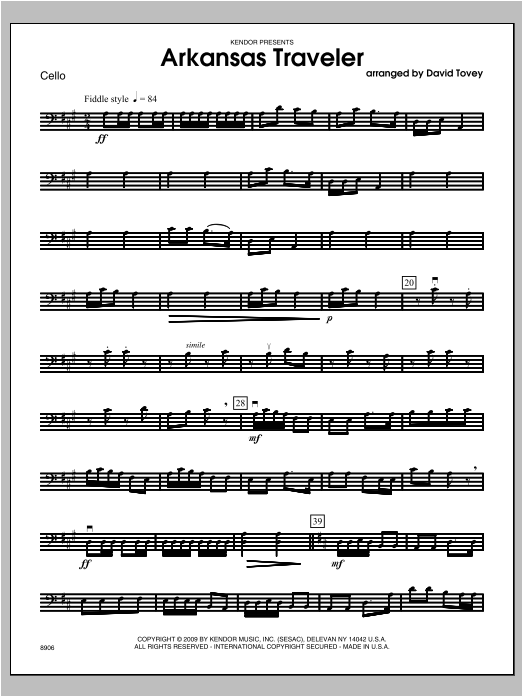 Arkansas Traveler - Cello Sheet Music