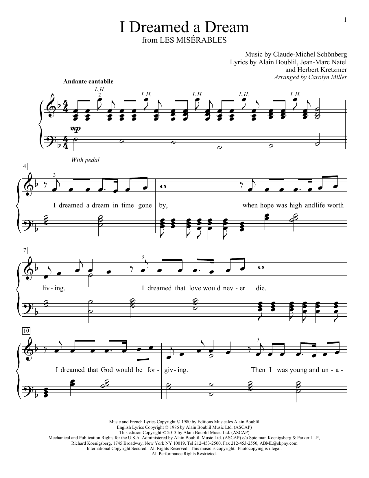 I Dreamed A Dream Sheet Music