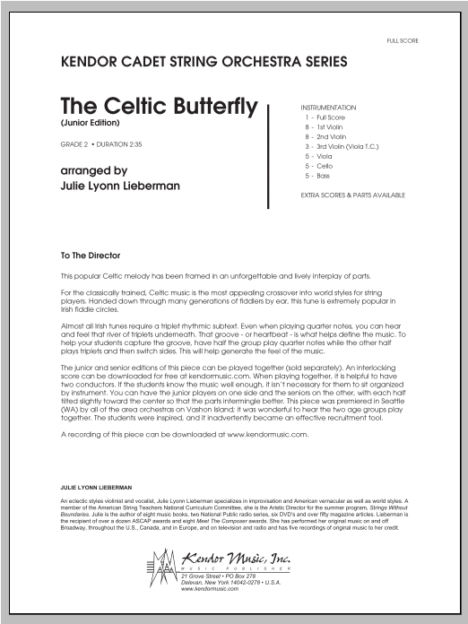 Celtic Butterfly, The (Junior Edition) (COMPLETE) sheet music for orchestra by Julie Lyonn Lieberman. Score Image Preview.