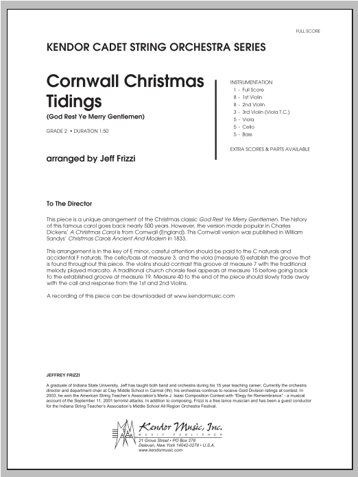 Cornwall Christmas Tidings (God Rest Ye Merry Gentlemen) (COMPLETE) sheet music for orchestra by Frizzi. Score Image Preview.