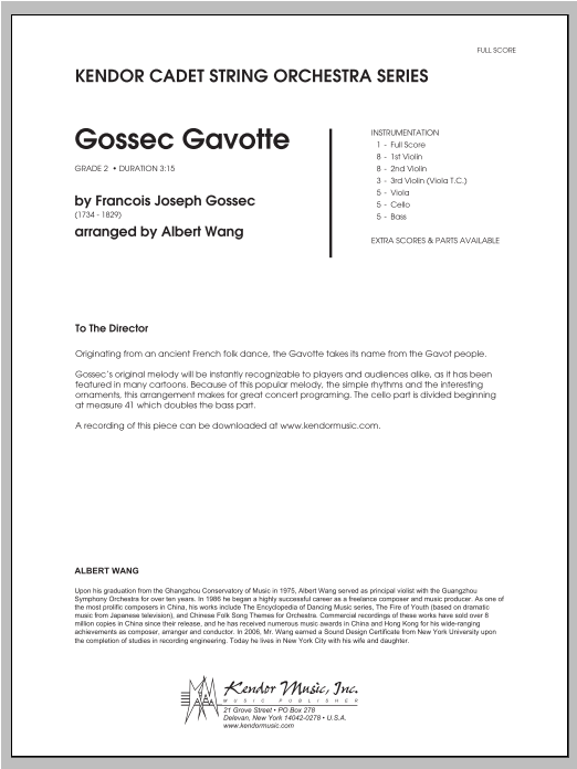 Gossec Gavotte (COMPLETE) sheet music for orchestra by Wang and Francois-Joseph Gossec. Score Image Preview.