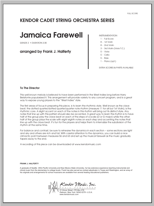Jamaica Farewell - Full Score Sheet Music