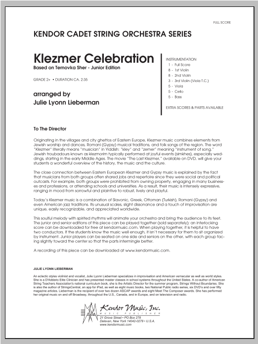 Klezmer Celebration (based on Ternovka Sher) (Junior Edition) (COMPLETE) sheet music for orchestra by Julie Lyonn Lieberman. Score Image Preview.