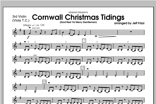 Cornwall Christmas Tidings (God Rest Ye Merry Gentlemen) - Violin 3 Sheet Music