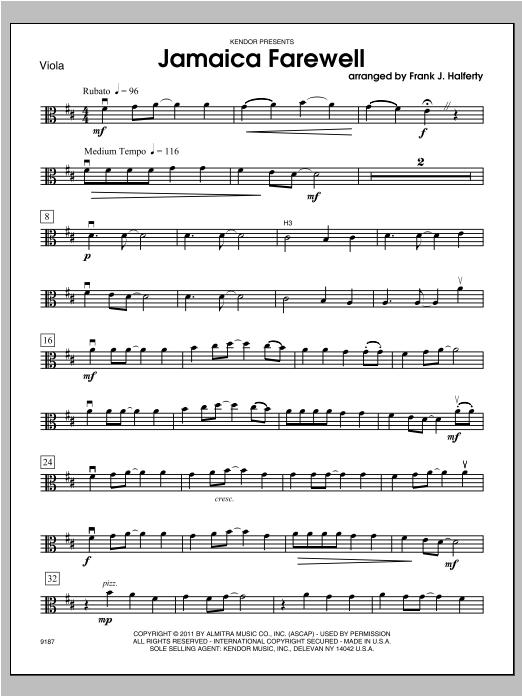 Jamaica Farewell - Viola Sheet Music