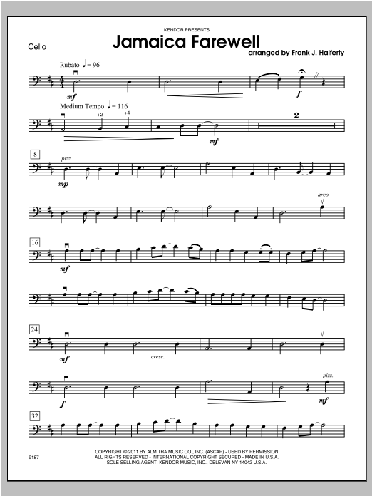 Jamaica Farewell - Cello Sheet Music