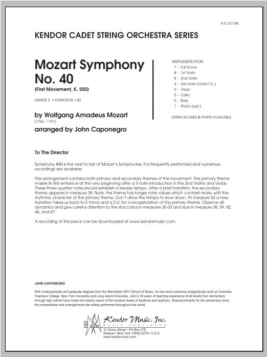 Mozart Symphony No. 40 (First Movement, K. 550) - Full Score Sheet Music