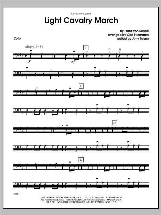 Light Cavalry March - Cello Sheet Music