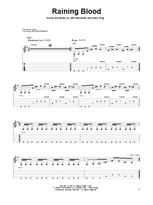 Raining Blood Sheet Music
