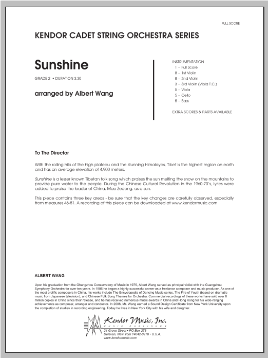 Sunshine (COMPLETE) sheet music for orchestra by Wang. Score Image Preview.