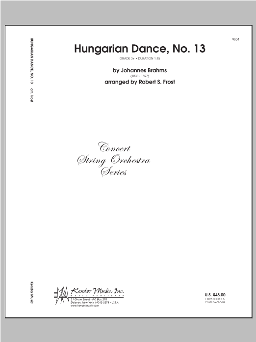 Hungarian Dance, No. 13 - Full Score Sheet Music