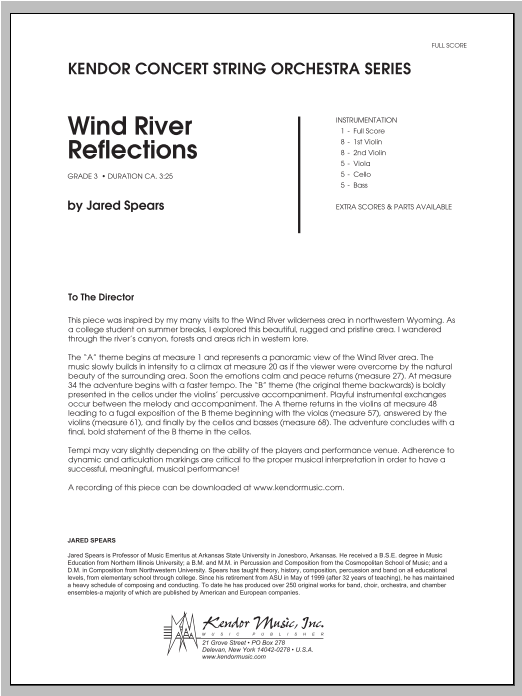 Wind River Reflections (COMPLETE) sheet music for orchestra by Jared Spears. Score Image Preview.