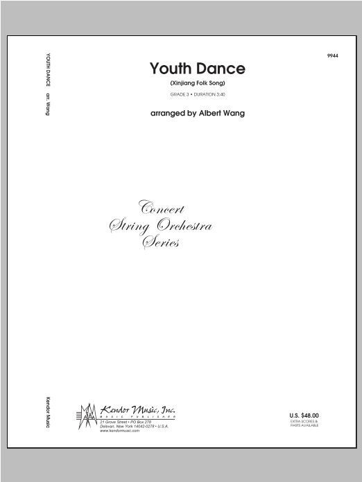 Youth Dance (Xinjiang Folk Song) (COMPLETE) sheet music for orchestra by Wang. Score Image Preview.