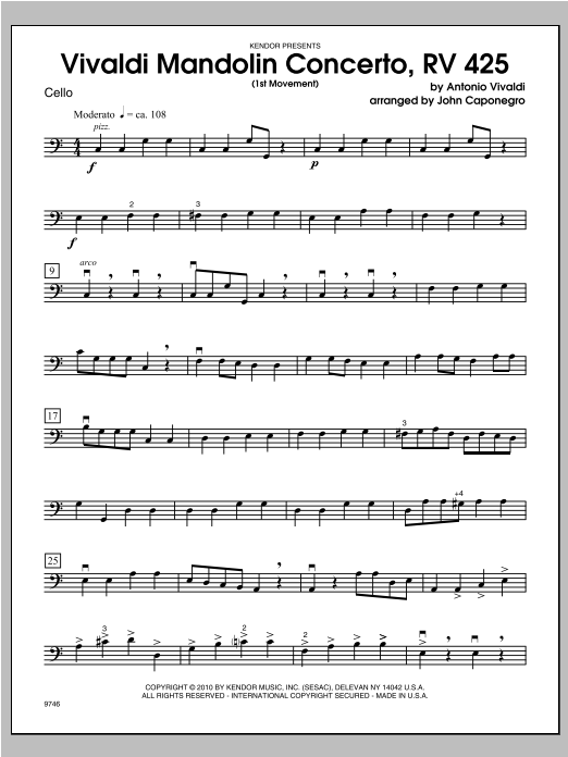 Vivaldi Mandolin Concerto, RV 425 (1st Movement) - Cello Sheet Music
