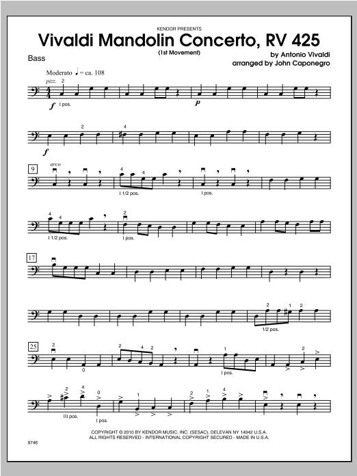 Vivaldi Mandolin Concerto, RV 425 (1st Movement) - Bass Sheet Music