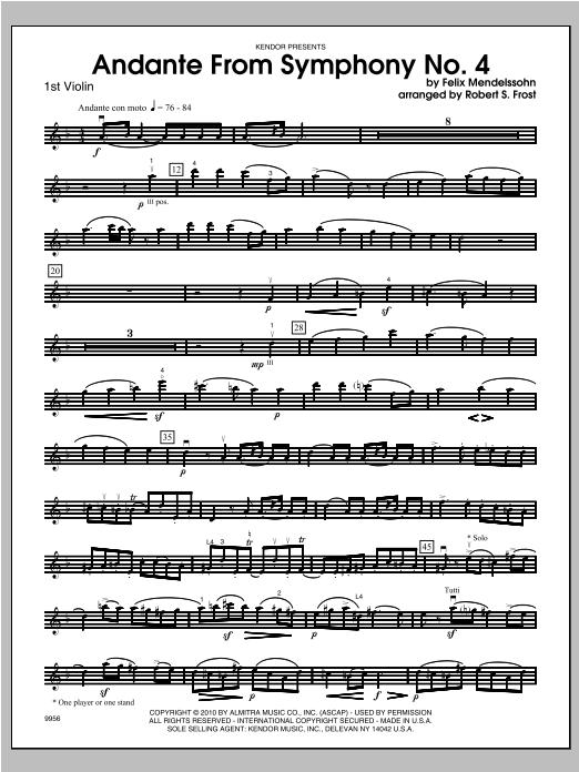 Andante From Symphony No. 4 - Violin 1 Sheet Music