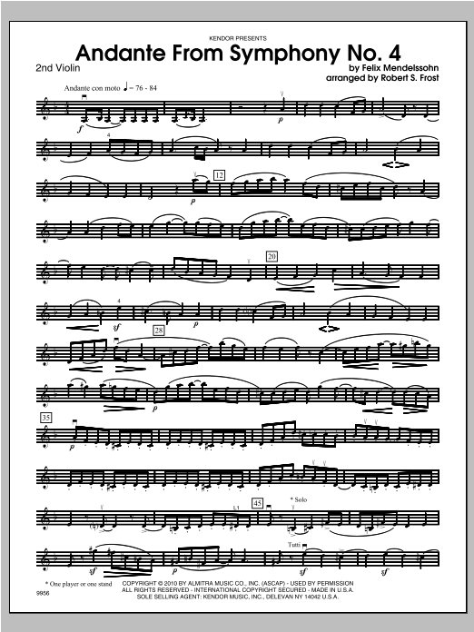 Andante From Symphony No. 4 - Violin 2 Sheet Music