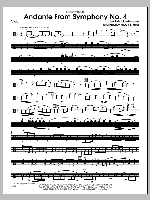 Andante From Symphony No. 4 - Viola Sheet Music