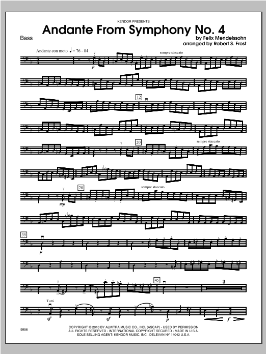 Andante From Symphony No. 4 - Bass Sheet Music