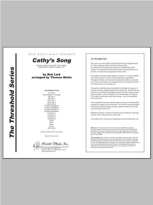 Cathy's Song - Full Score Partituras Digitales